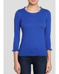 Kate Spade Bekki Ruffle Trim Sweater blue - Lyst