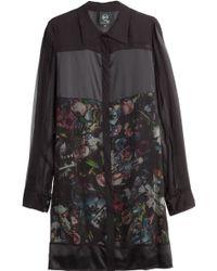 McQ by Alexander McQueen Shirred Chiffon Printed Shirt Dress - Lyst
