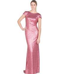 Badgley Mischka Rose Sequin Cowl Back Evening Gown - Lyst