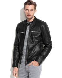 Guess Leather Moto Jacket - Lyst
