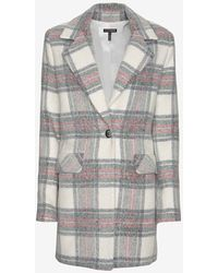 Exclusive For Intermix - Single Breasted Plaid Coat - Lyst
