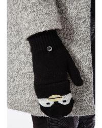 Missguided Arooj Knitted Penguin Gloves Black