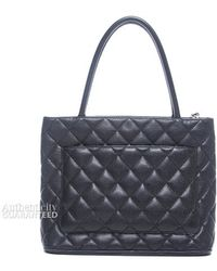 Chanel Pre-Owned Black Caviar Medallion Tote Bag - Lyst