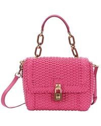 Dolce & Gabbana Dolly Basketwoven Leather Convertible Satchel - Lyst