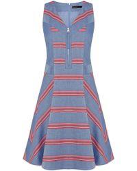 Karen Millen Engineered Stripe Chambray Dress - Lyst