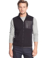 Calvin Klein Mixed Media Pique Fleece Logo-zip Vest - Lyst