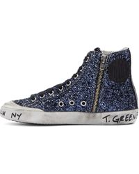 Golden Goose Deluxe Brand Blue Glitter Brooklyn Playground Francy Sneakers - Lyst
