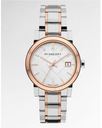 Burberry Ladies Two-tone Watch with Silver Check Dial - Lyst