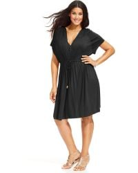 Dotti Plus Size Hooded Short-sleeve Cover-up - Lyst
