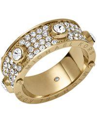Michael Kors Pavé Studded Gold-Tone Ring - Lyst