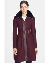 Badgley Mischka Women'S 'Rosalie' Belted Wool Blend Coat With Genuine Rabbit Fur Trim - Lyst