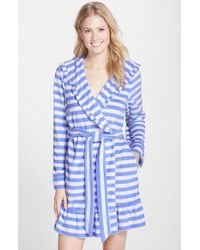 Betsey Johnson Hooded Stripe Terry Robe blue - Lyst