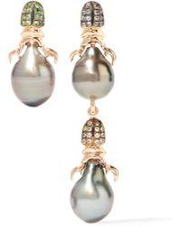 Daniela Villegas - Siren 18-karat Rose Gold Multi-stone Earrings - Lyst