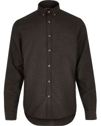 River Island Black Long Sleeve Flannel Shirt - Lyst