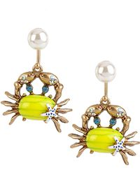 Betsey Johnson Into The Blue Crab Drop Earrings - Lyst