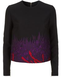 Elie Saab Floral Brocade Top - Black