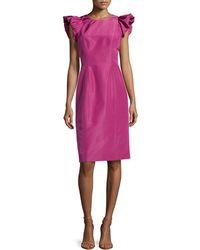 Carolina Herrera Faille Ruffle-sleeve Dress - Lyst