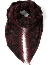 Alexander McQueen Skull And Leopard Print Scarf - Red