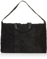 Topshop Womens Embossed Suede Luggage Bag  Black - Lyst
