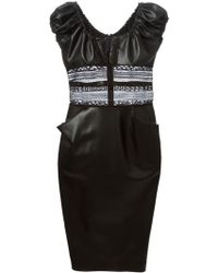 Ermanno Scervino Fitted Faux Leather Dress - Lyst