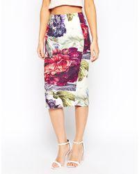 Asos Pencil Skirt In Printed Texture - Lyst