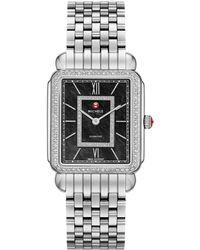 Michele Deco Ii Diamond, Black Mother-Of-Pearl & Stainless Steel Bracelet Watch - Lyst
