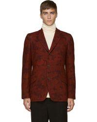 Yohji Yamamoto Burgundy and Rust Zipped Floral Blazer - Lyst