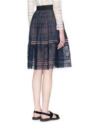 Self-Portrait | 'sofia' Circle Lace Midi Skirt | Lyst