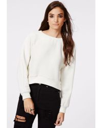 Missguided Lailah Cocoon Sleeve Ribbed Sweater Cream - Lyst