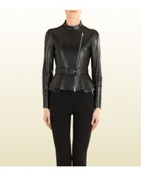 Gucci Black Leather Zip Front Jacket - Lyst