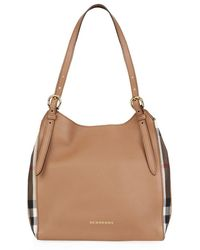 Burberry Small House Check Detail Leather Canter Bag - Lyst