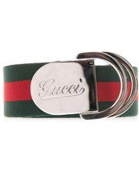 Gucci Striped Canvas Ribbon Belt - Lyst