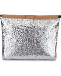 L.A.M.B. Fallon Metallic Leather Clutch Bag - Lyst
