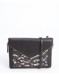 Rebecca Minkoff Black and White Leather Printed Marlowe Mini Convertible Clutch - Lyst