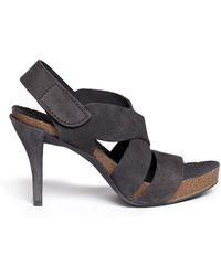 Pedro Garcia Laila Velcro Strap Suede Sandals - Lyst