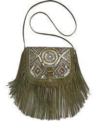 Big Buddha - Jsiena Suede Beaded Crossbody - Lyst