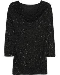 Donna Karan New York Draped Embellished Cashmere Top - Lyst