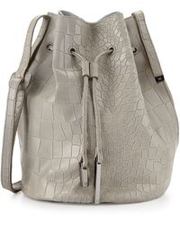 Halston Heritage City Casual Croc-embossed Bucket Bag  - Lyst
