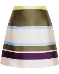 MSGM Striped Silk-Blend Skirt - Lyst