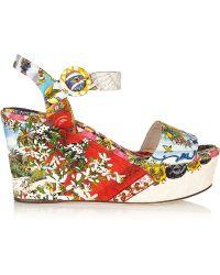 Dolce & Gabbana Printed Brocade Wedge Sandals - Lyst