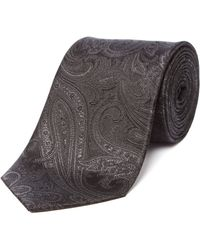 Richard James Silk Tie Flamboyant Paisley - Grey