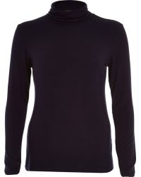 River Island Navy Polo Neck Top - Lyst