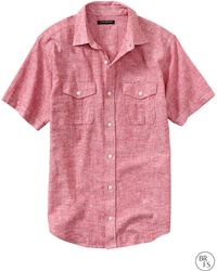 Banana Republic Factory Slim Fit Short Sleeve Utility Shirt Chilie Pepper - Lyst