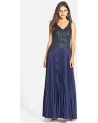 Sue Wong - Embellished Pleated Crepe Gown - Lyst