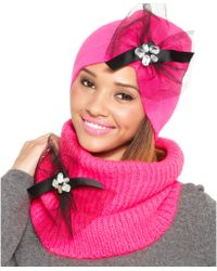 Betsey Johnson Woven Ribbed Bow Beanie - Lyst