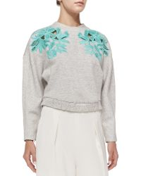 3.1 Phillip Lim Embroidered Lace Sweatshirt - Lyst