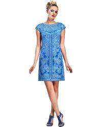 Sue Wong Soutache Embroidered Sheath Dress - Lyst