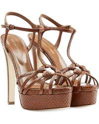Sergio Rossi Platform Sandals With Snakeskin - Lyst