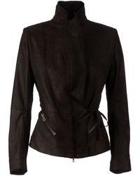 Ann Demeulemeester Blanche Leather Blazer Jacket black - Lyst