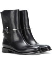 Balenciaga Leather Mid-Calf Boots - Black